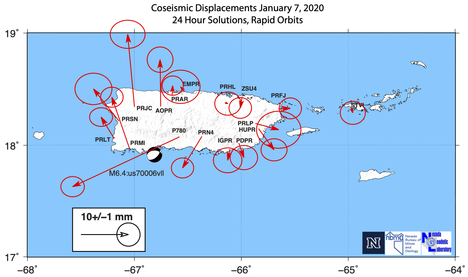 Map of Puerto Rico showing GPS-measured displacements.
