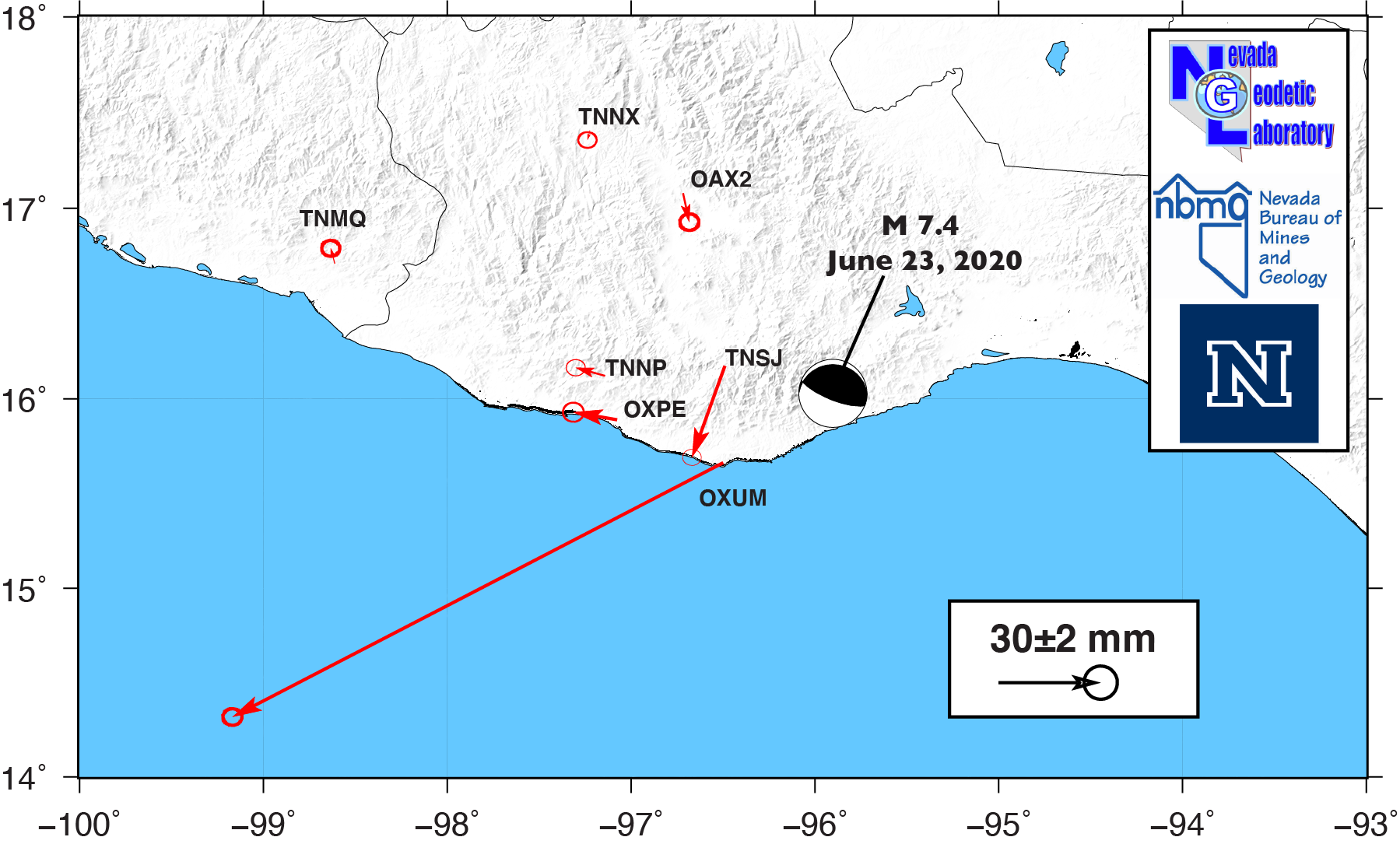 Map of Earthquakes and GPS displacements