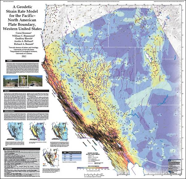 Map of strain in the Great Basin